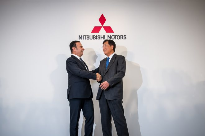 Nissan CEO Carlos Ghosn Mitsubishi president Osamu Masuko