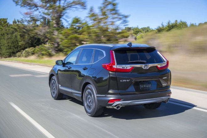 2017 Honda CR V rear three quarter in motion 02