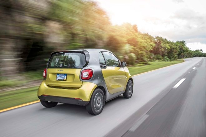 2017 Smart Fortwo Electric Drive rear three quarter in motion 1