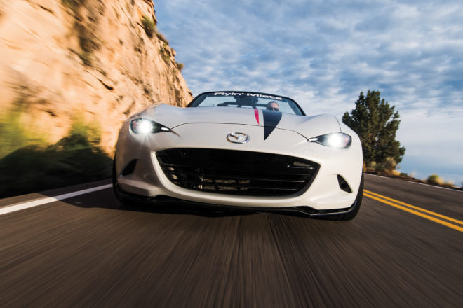 Flyin Miata LS3 V8 2016 Mazda MX 5 front view in motion 01