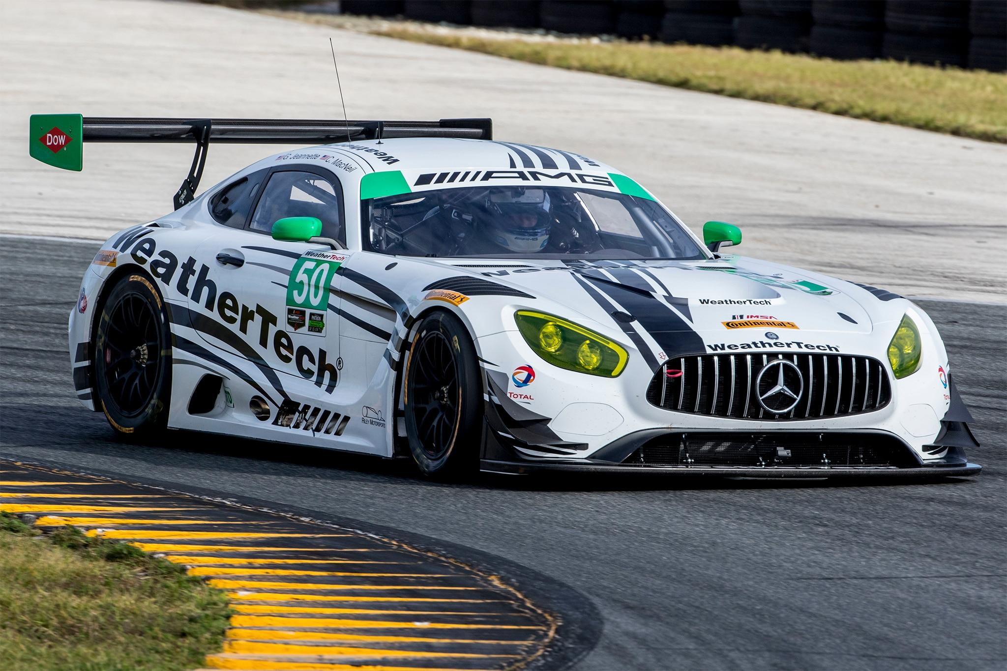 Mercedes AMG GT3 IMSA WeatherTech Race Car Front Three Quarter In Motion 12