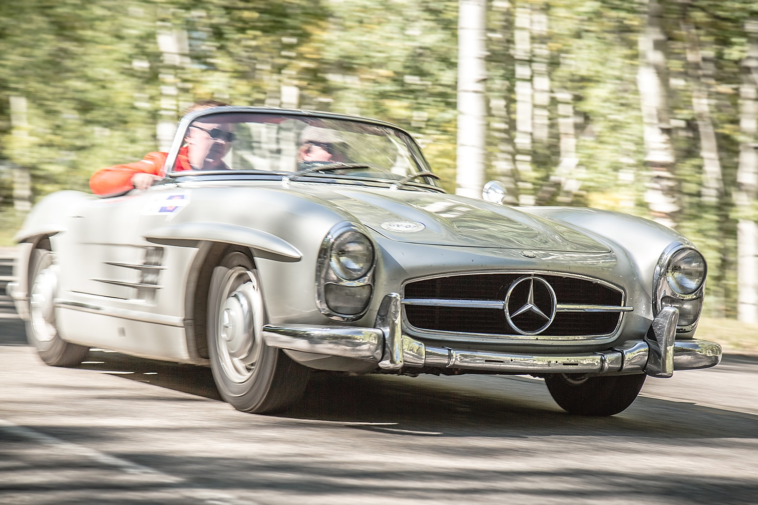 1957 Mercedes Benz 300SL Roadster Front Three Quarter In Motion 02