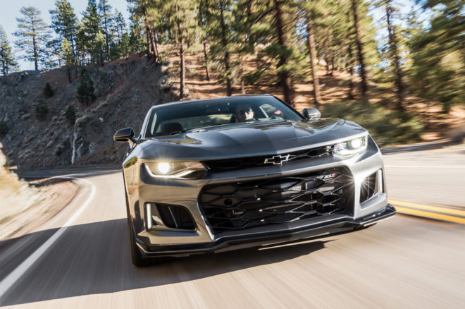 2017 Chevrolet Camaro ZL1 front view in motion 11