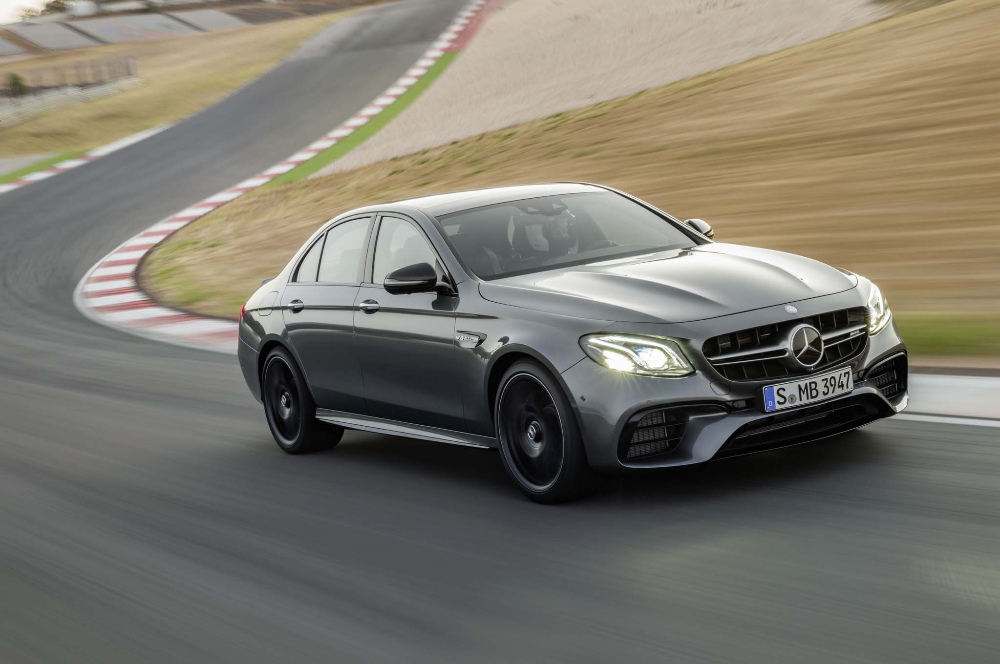 2018 Mercedes AMG E63 S Front Three Quarter In Motion 02