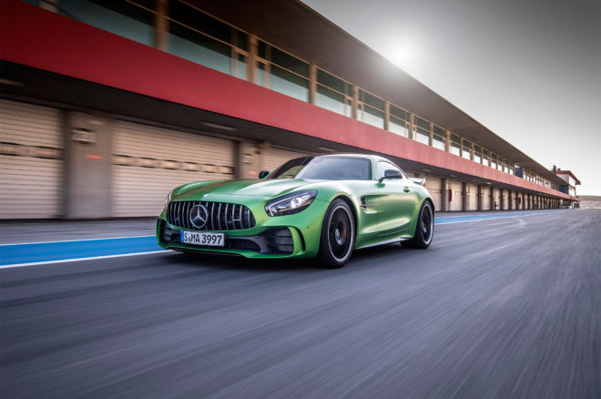 2018 Mercedes AMG GT R front three quarter in motion 06 1