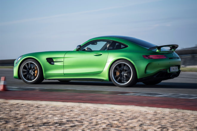 2018 Mercedes AMG GT R side profile in motion 01