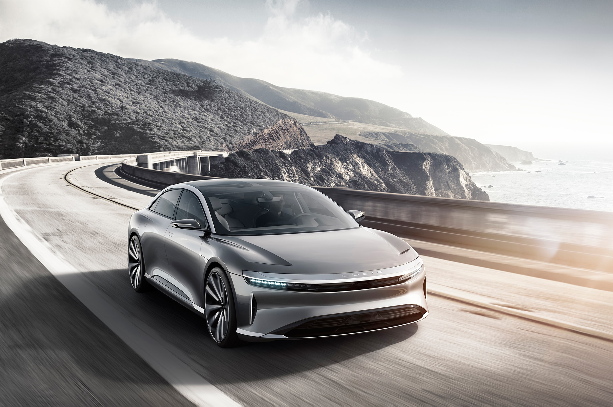 Lucid Motors Air Front Three Quarter In Motion 405