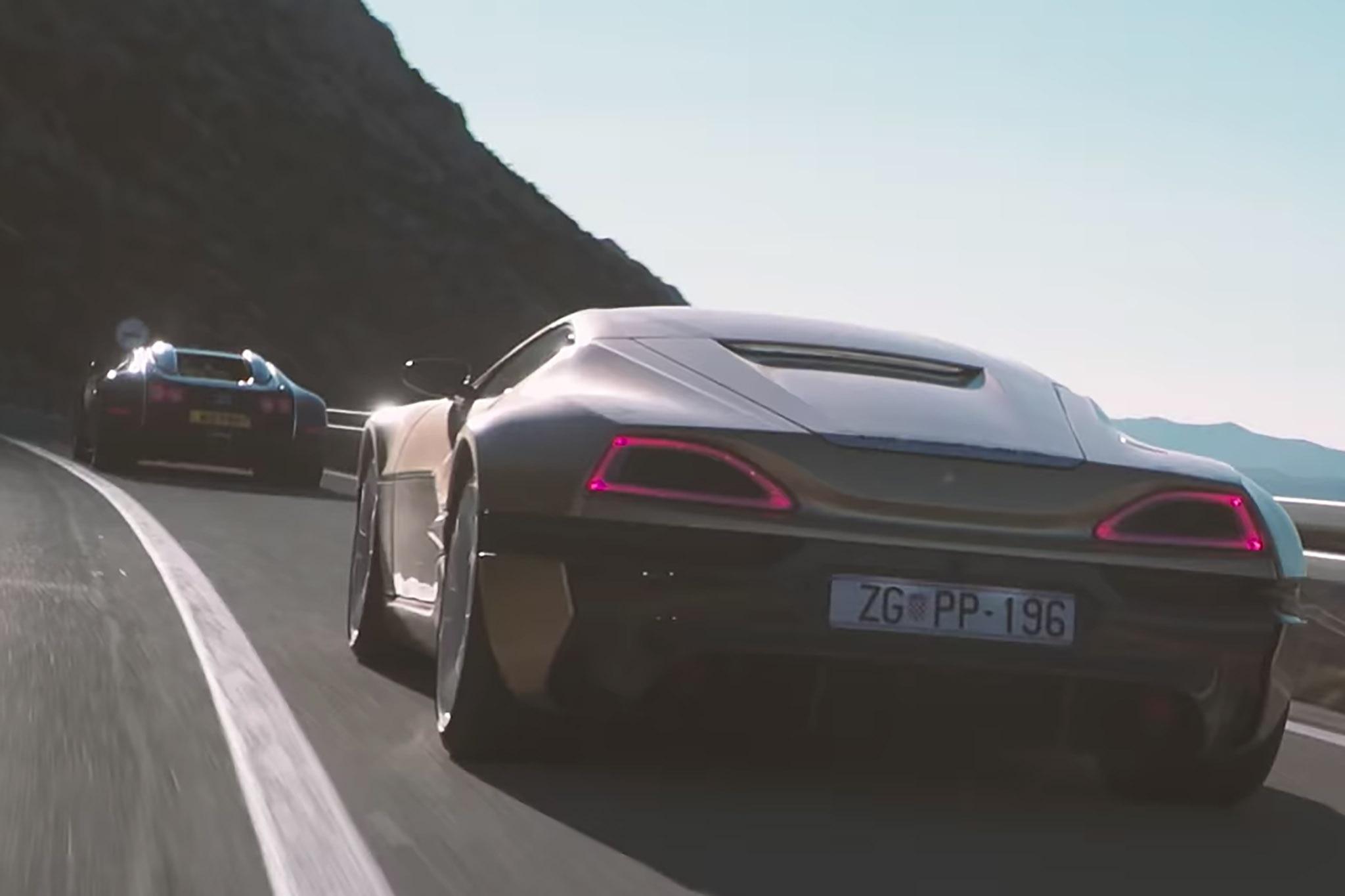 Rimac Concept One Verses Bugatti Veyron Moving