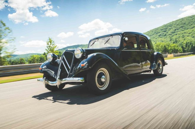 1950 Citroen Traction Avant front three quarter in motion