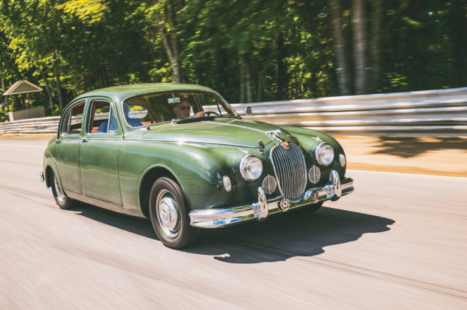 1958 Jaguar Mark I 3 4 front three quarter in motion