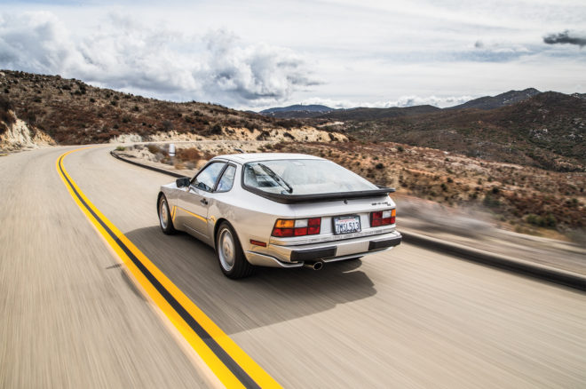 1989 Porsche 944 S2 rear three quarter in motion