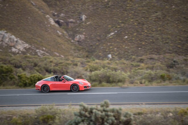 2017 Porsche 911 Targa 4 GTS side profile in motion 02