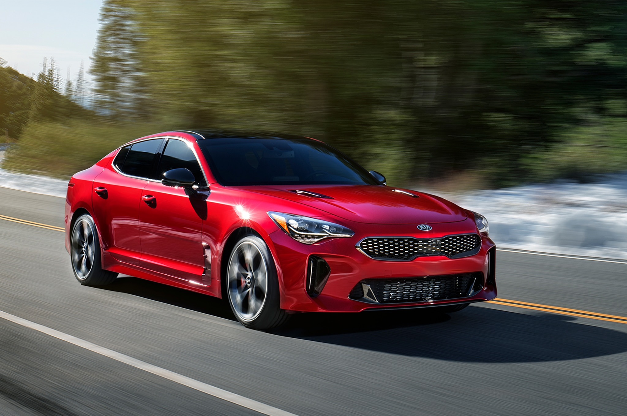 2018 Kia Stinger GT Front Three Quarter In Motion 04