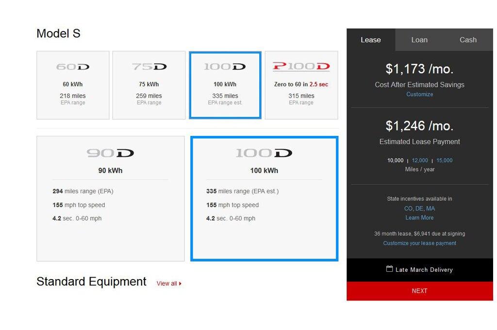 Tesla Model S 100D Consumer Site