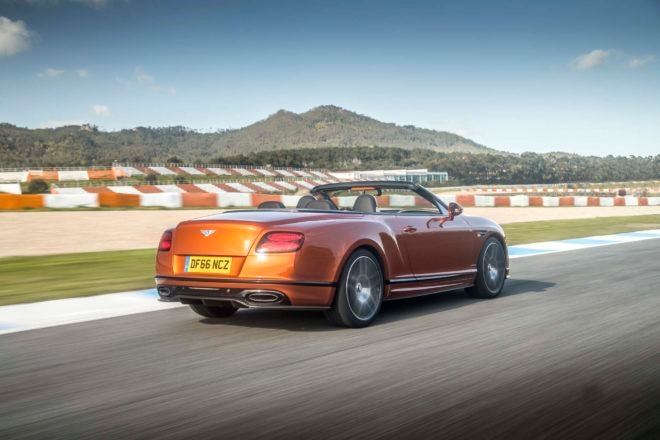 2017 Bentley Continental Supersports convertible rear three quarter in motion 03