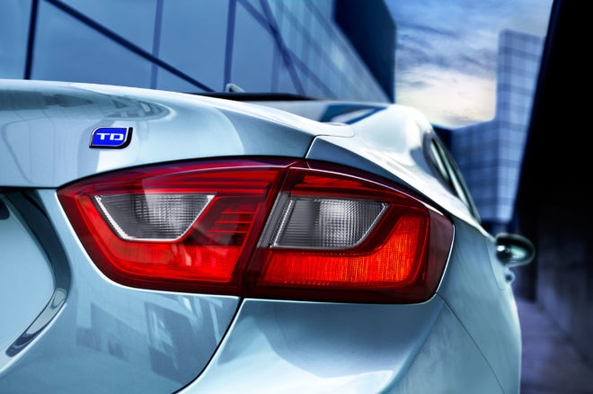 2017 Chevrolet Cruze Diesel sedan taillight and badge close up