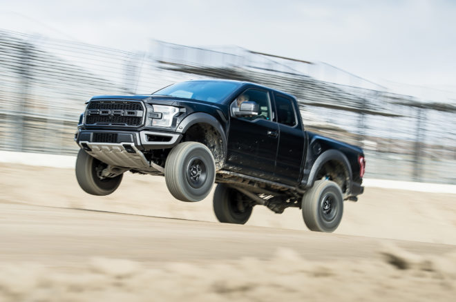 2017 Ford Raptor front three quarter in motion 01