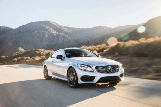 2017 Mercedes AMG C43 Coupe front three quarter in motion 02