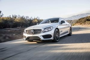 2017 Mercedes AMG C43 Coupe front three quarter in motion 06