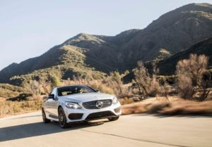 2017 Mercedes AMG C43 Coupe front three quarter in motion