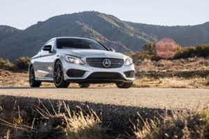 2017 Mercedes AMG C43 Coupe front three quarters 04