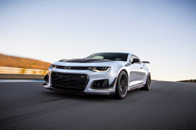 2018 Chevrolet Camaro ZL1 1LE front three quarter in motion 02 1