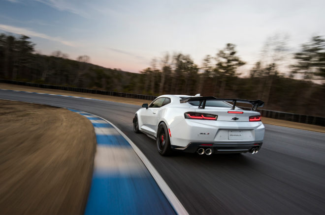 2018 Chevrolet Camaro ZL1 1LE rear three quarter in motion 1