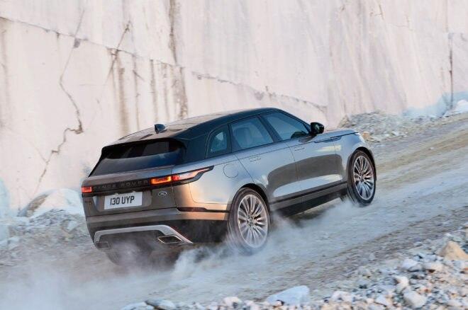 2018 Land Rover Range Rover Velar rear three quarter uphill