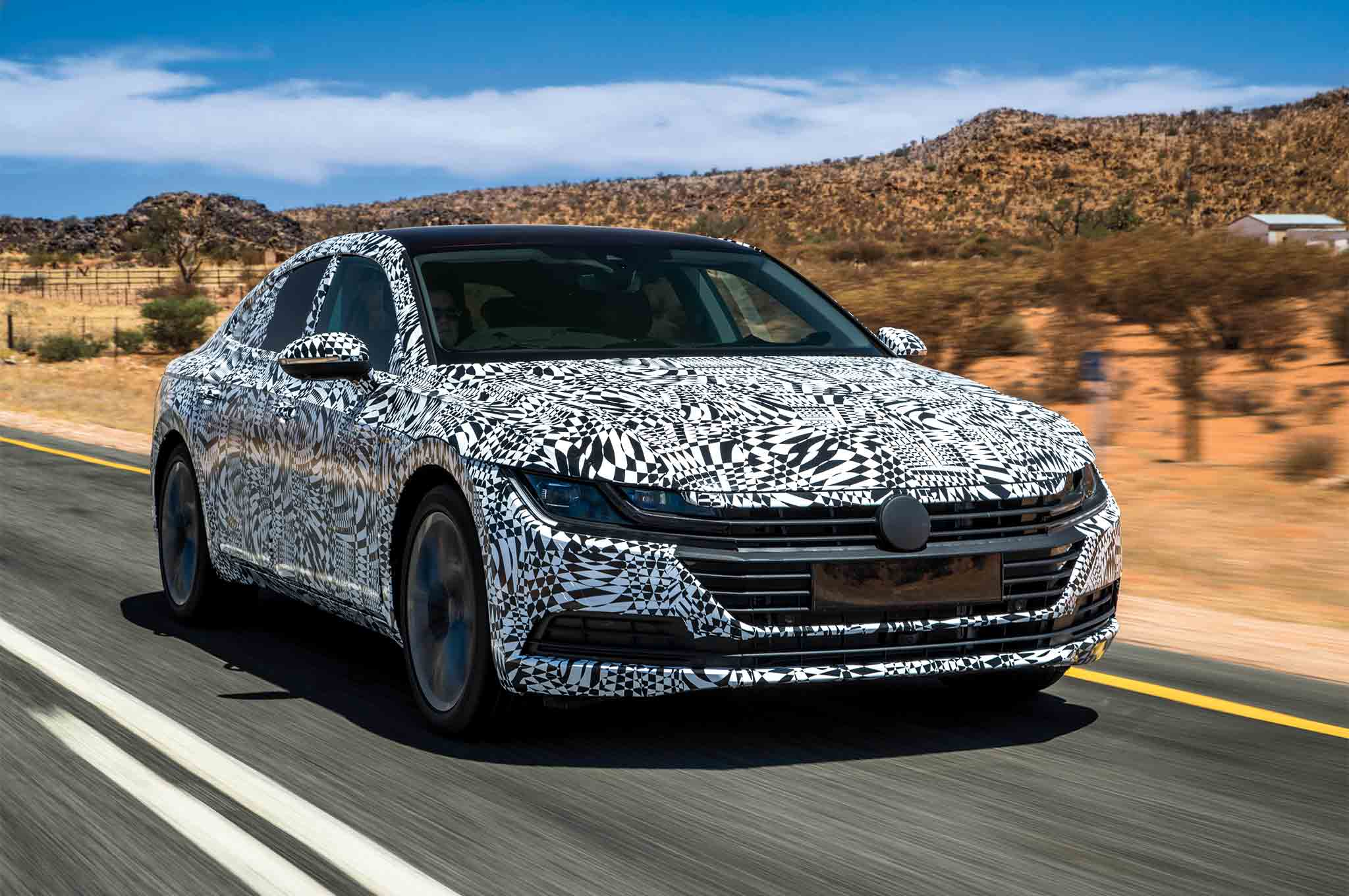 Volkswagen Arteon Prototype Front Three Quarter In Motion