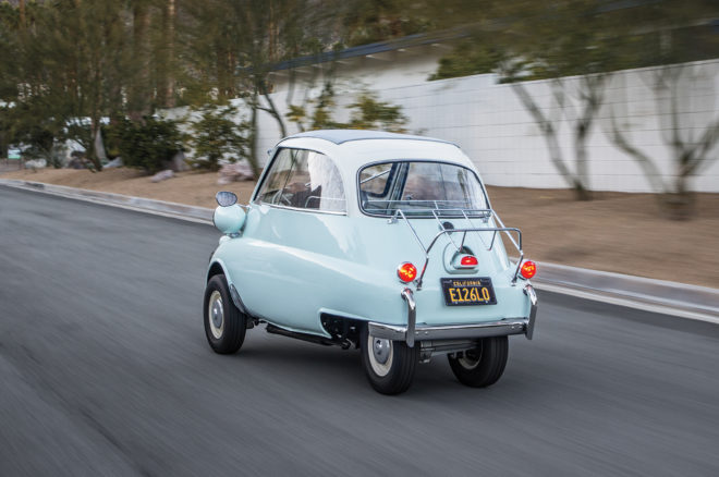 1957 BMW Isetta 300 rear three quarter in motion