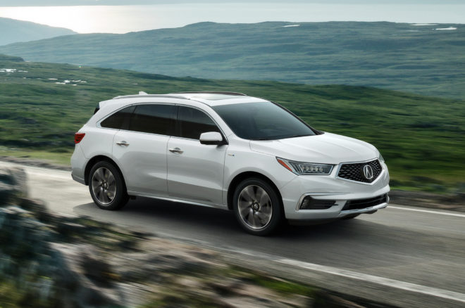 2017 Acura MDX Sport Hybrid front side in motion 02