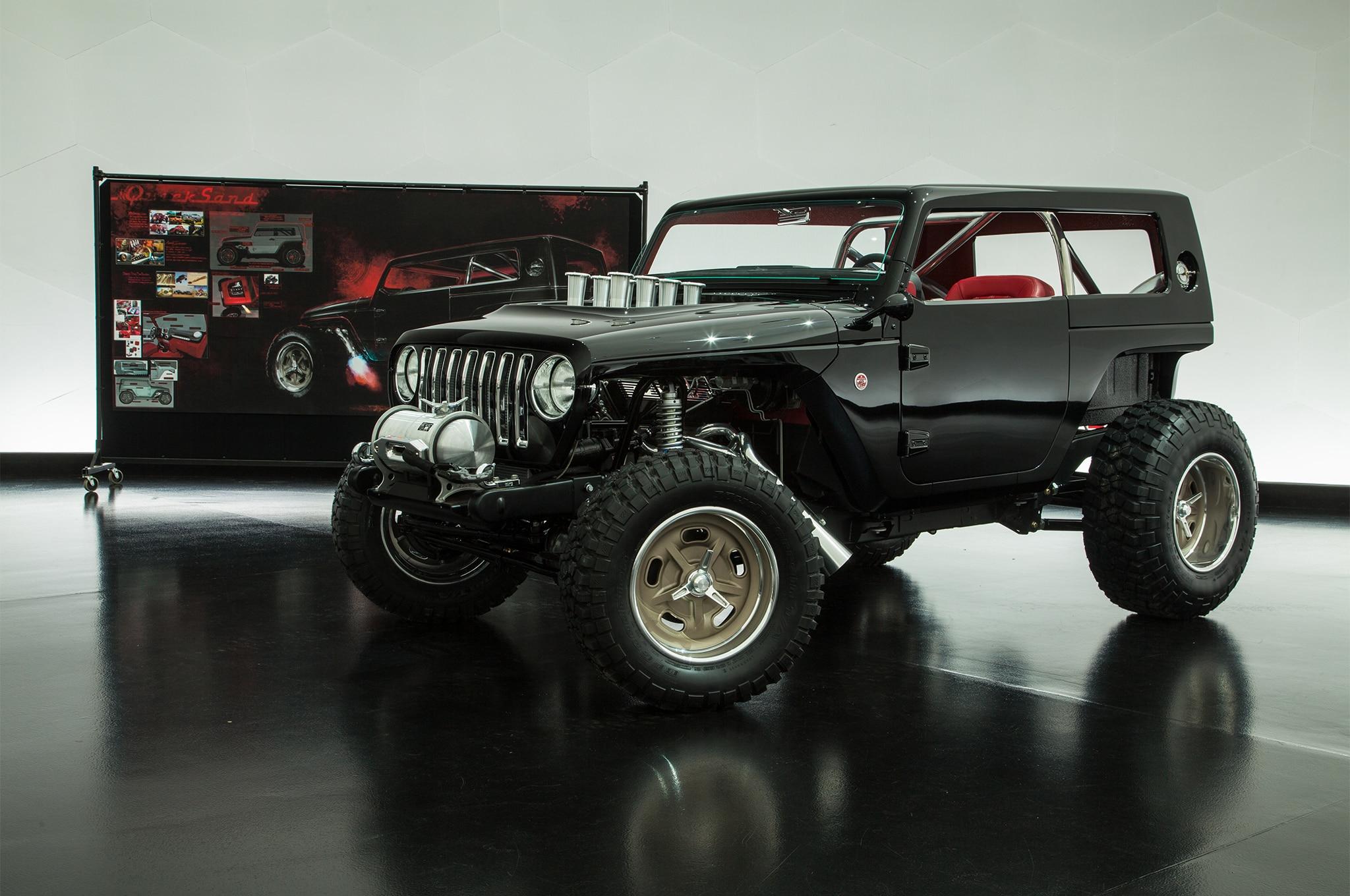2018 jeep wrangler interior. plain jeep 2017 moab easter jeep safari quicksand concept front three quarter 02 with 2018 jeep wrangler interior