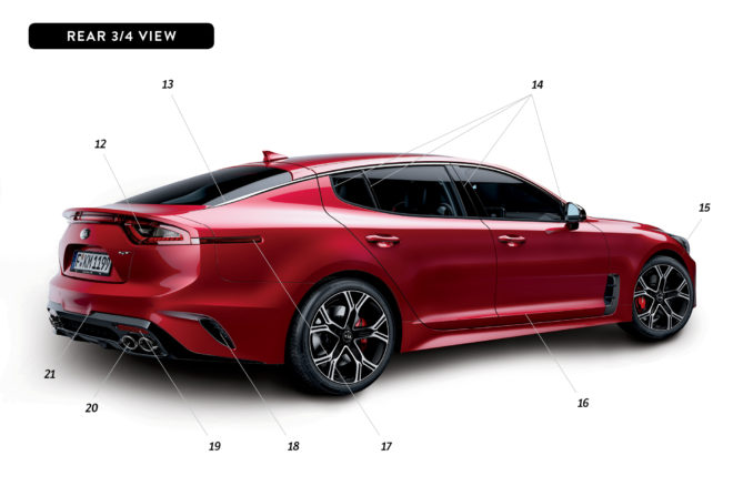 ByDesign Kia Stinger rear three quarter