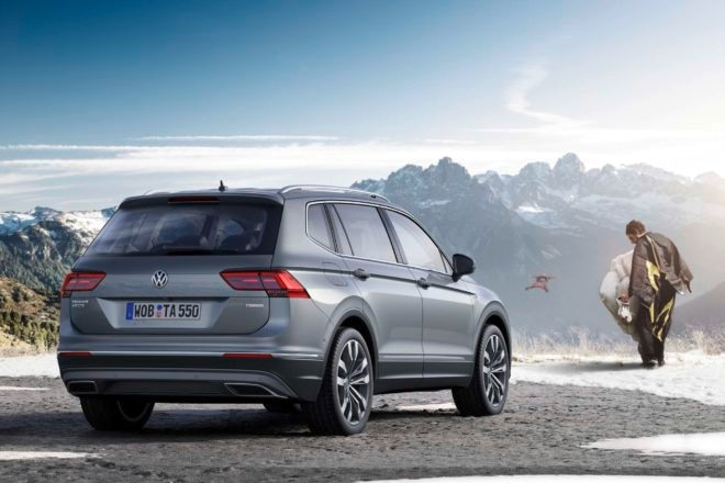European spec Volkswagen Tiguan Allspace rear three quarter
