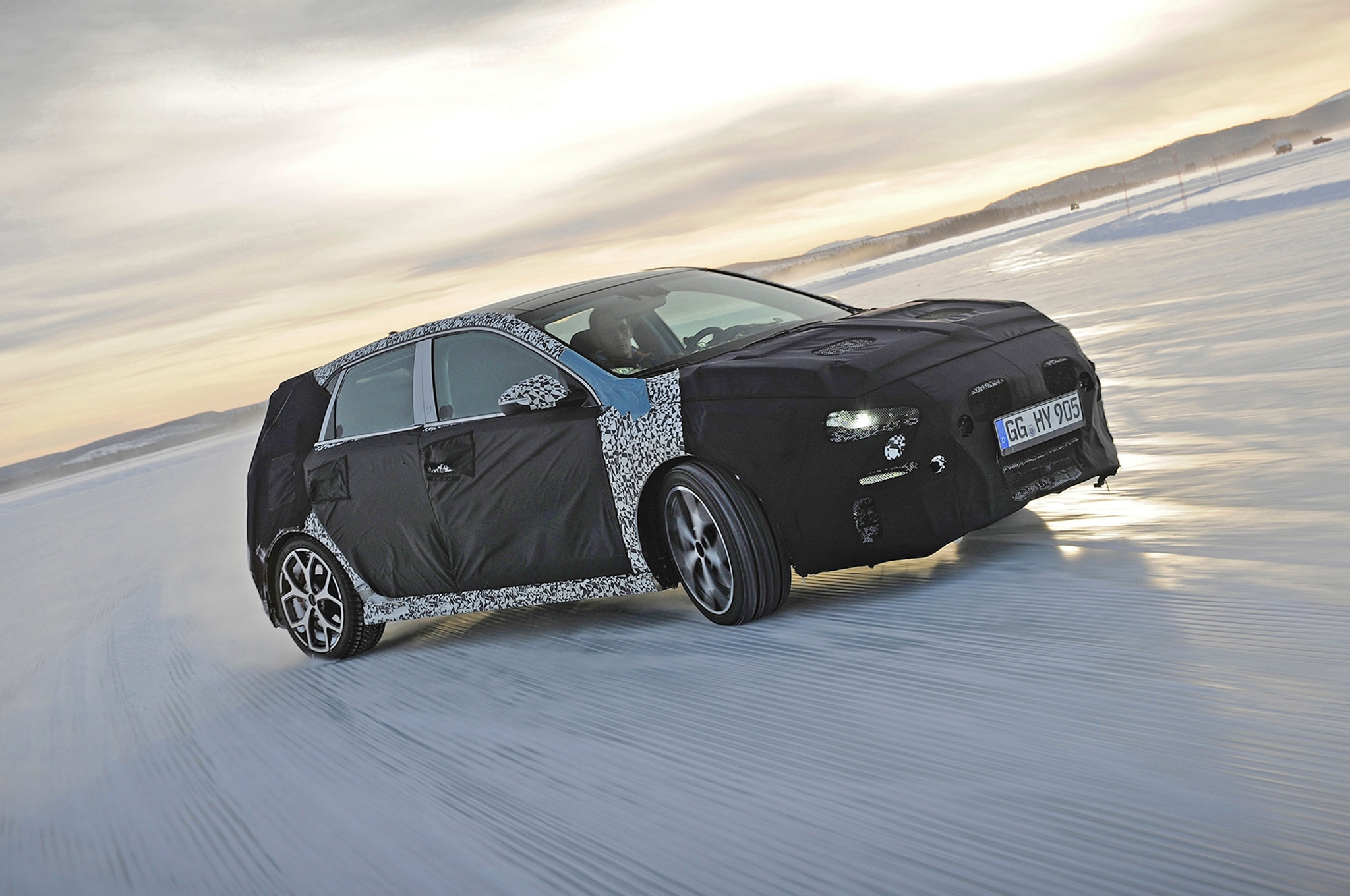 Hyundai I30 N Winter In Testing Sweden Front Three Quarters 1
