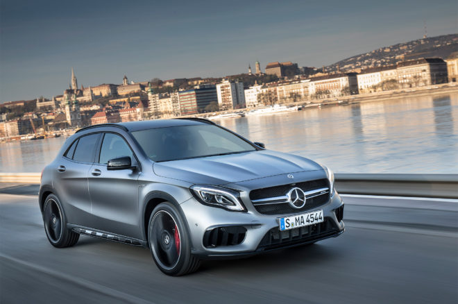 2018 Mercedes AMG GLA45 4MATIC Front Three Quarter In Motion 03 660x438