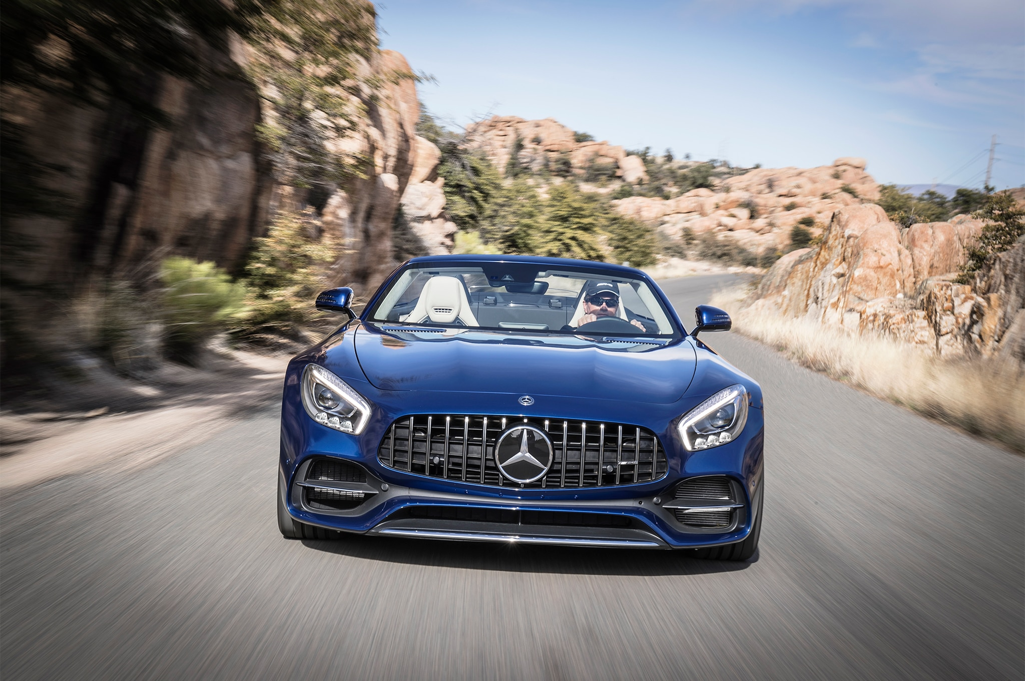 2018 Mercedes AMG GT Roadster Front End In Motion