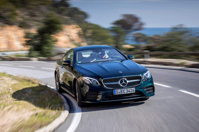 2018 Mercedes Benz E400 4MATIC Coupe Front Three Quarter In Motion 08 660x438
