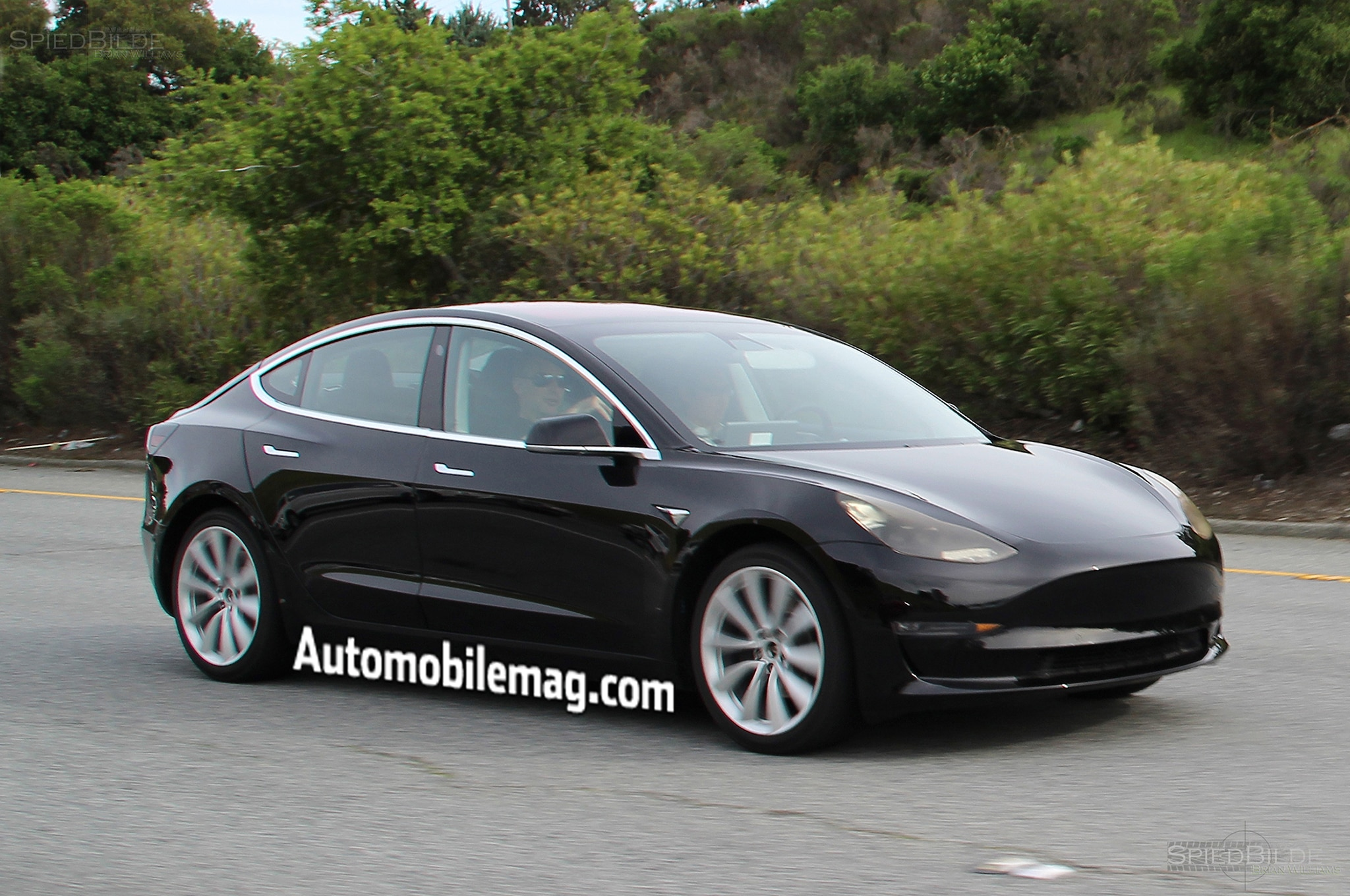 near production tesla model 3 spied testing automobile magazine. Black Bedroom Furniture Sets. Home Design Ideas