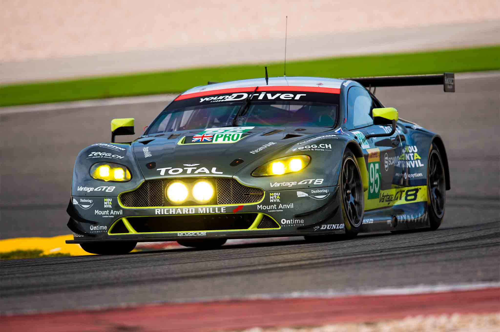Aston Martin Racing V8 Vantage GTE Race Car Front Three Quarter In Motion 02
