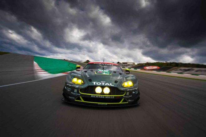 Aston Martin Racing V8 Vantage GTE Race Car front view in motion 01