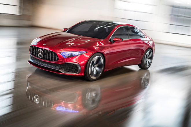 Mercedes Benz Concept A Sedan front side motion view