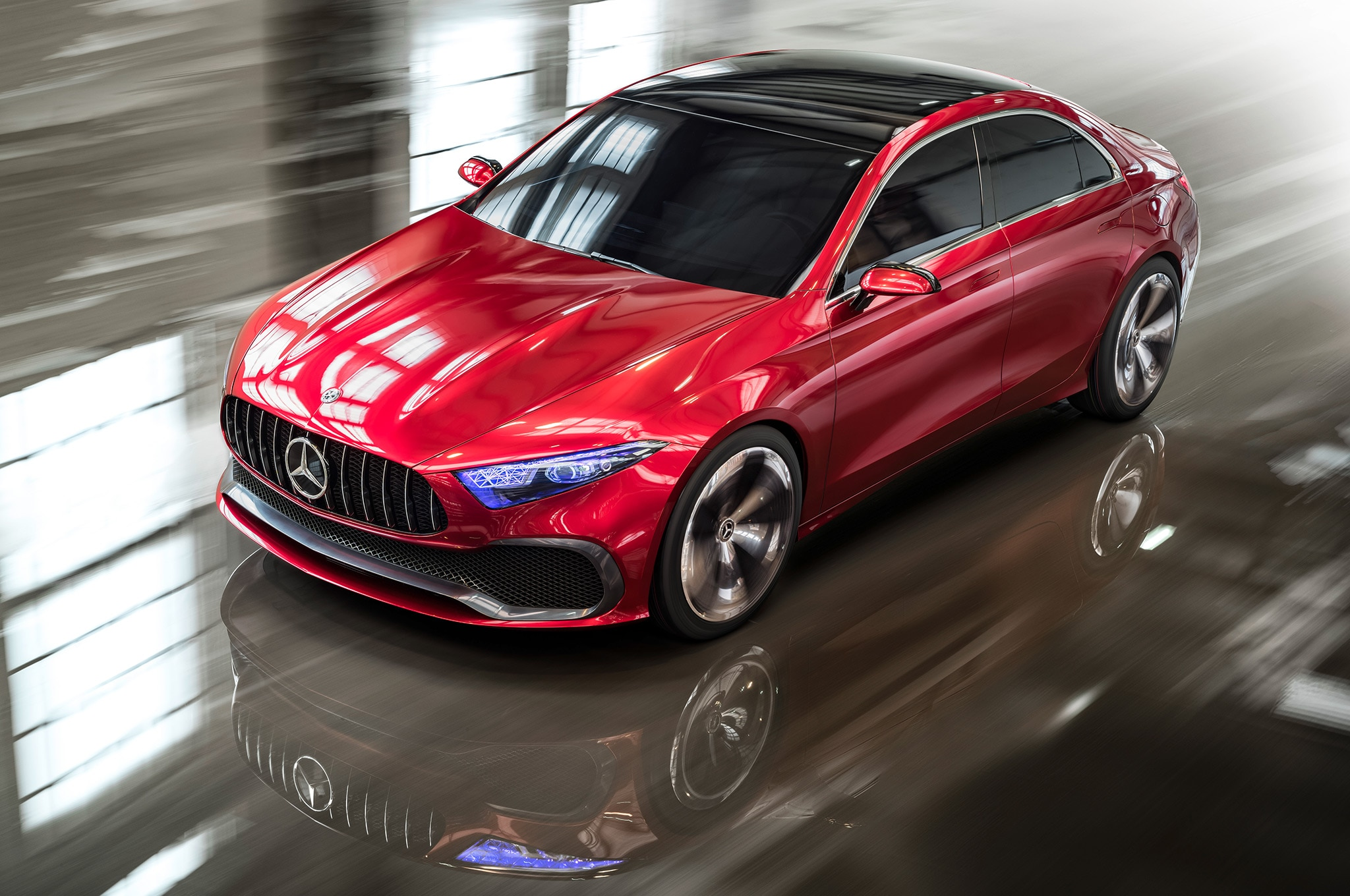 Mercedes Benz Concept A Sedan Motion View From Above