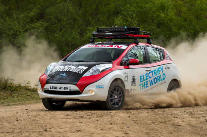 Nissan Leaf modified to create an all-electric rally vehicle