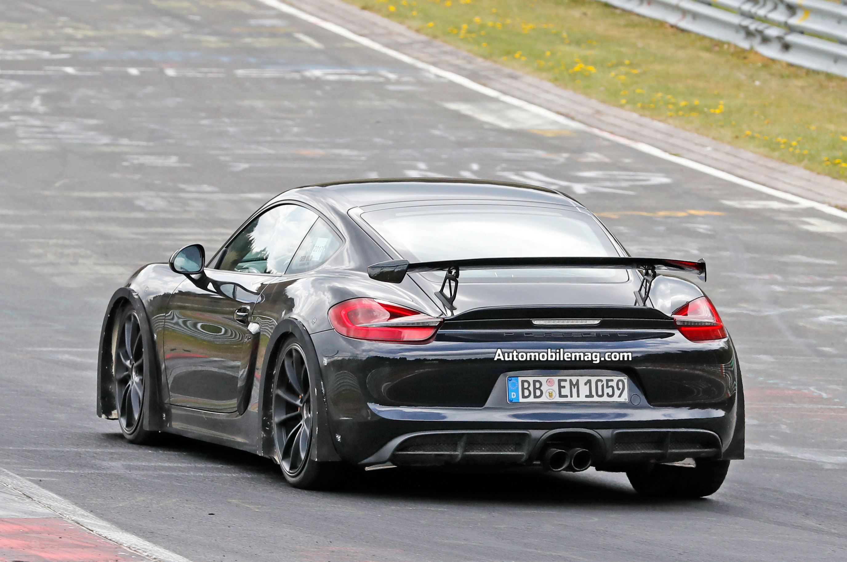 next porsche 718 cayman gt4 spotted testing at the nurburgring automobile magazine. Black Bedroom Furniture Sets. Home Design Ideas