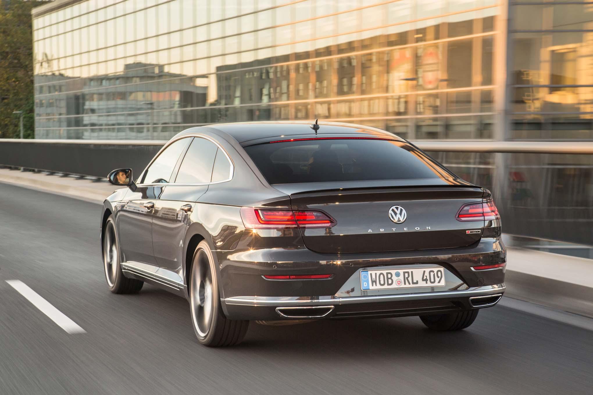 2019 Volkswagen Arteon R Line Rear Three Quarter In Motion 1