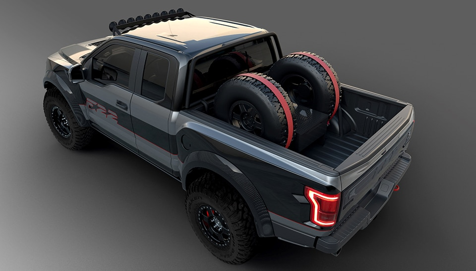 2017 Ford F 22 Raptor Overhead Rear 3 4 View