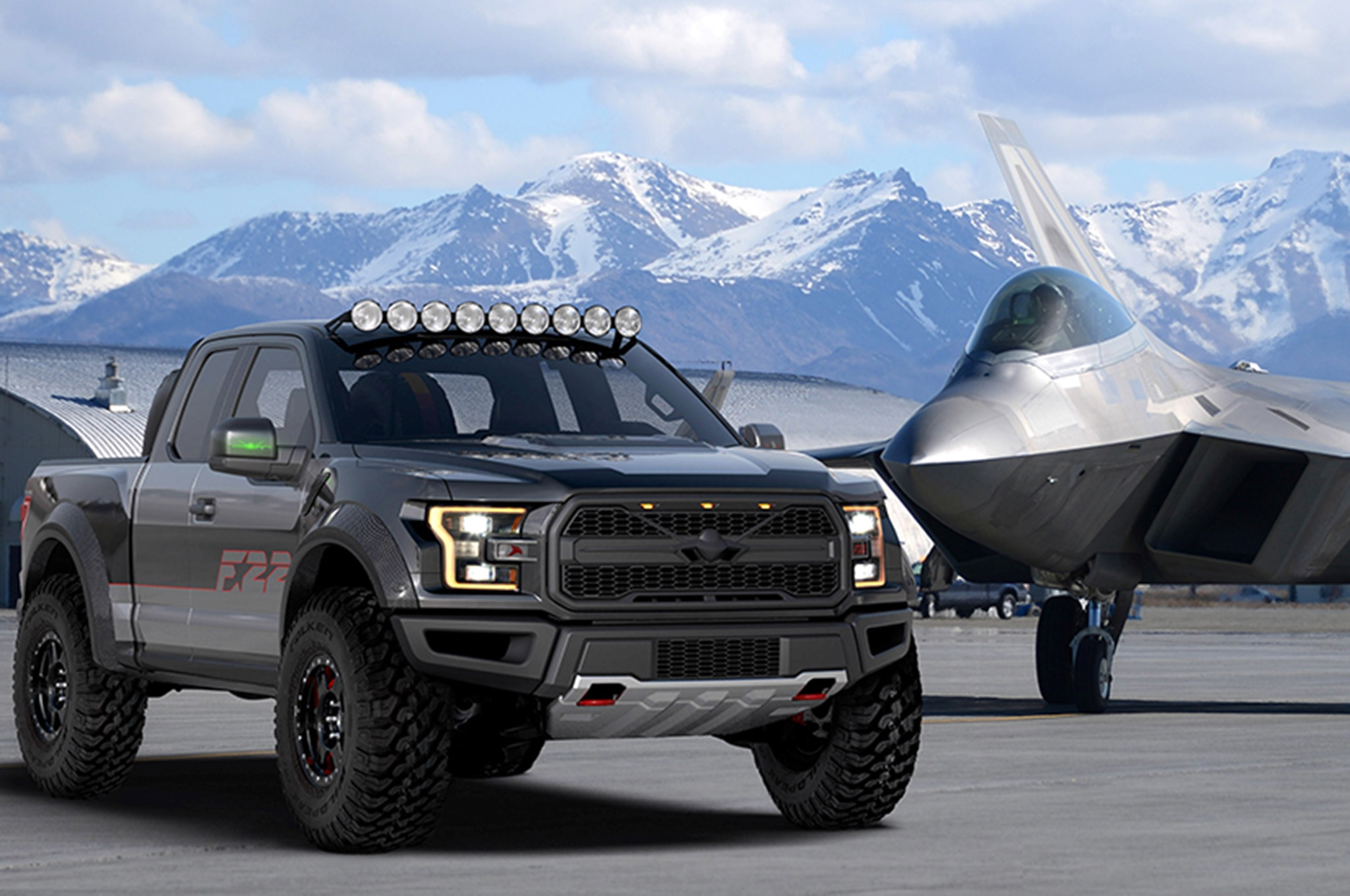 2017 Ford F 22 Raptor With F 22 Jet Lead