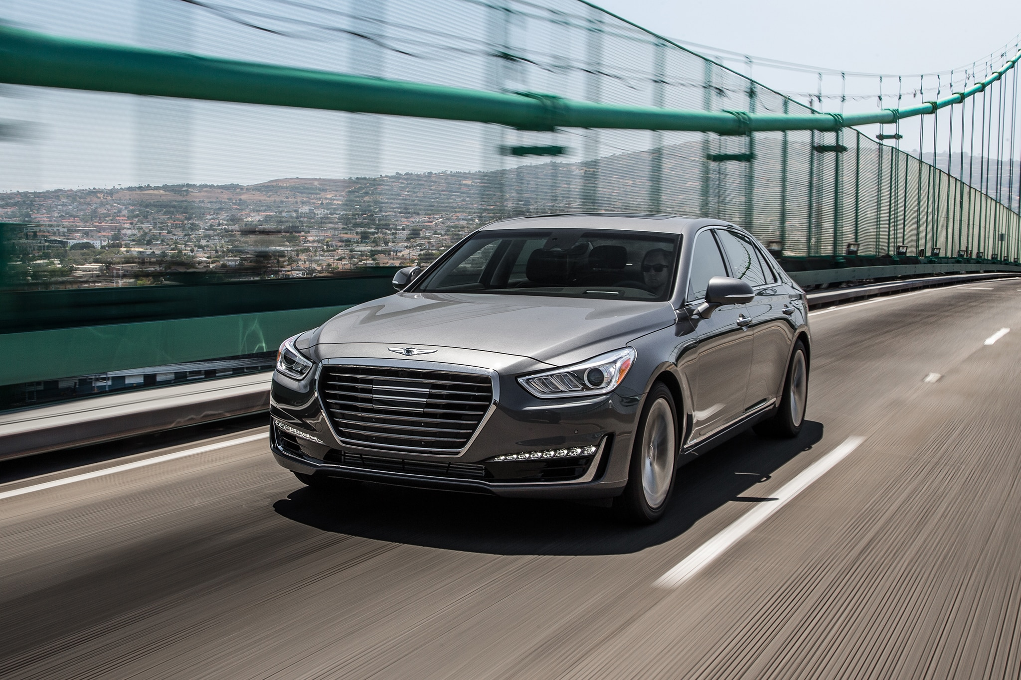 2017 Genesis G90 Front Three Quarter In Motion 01