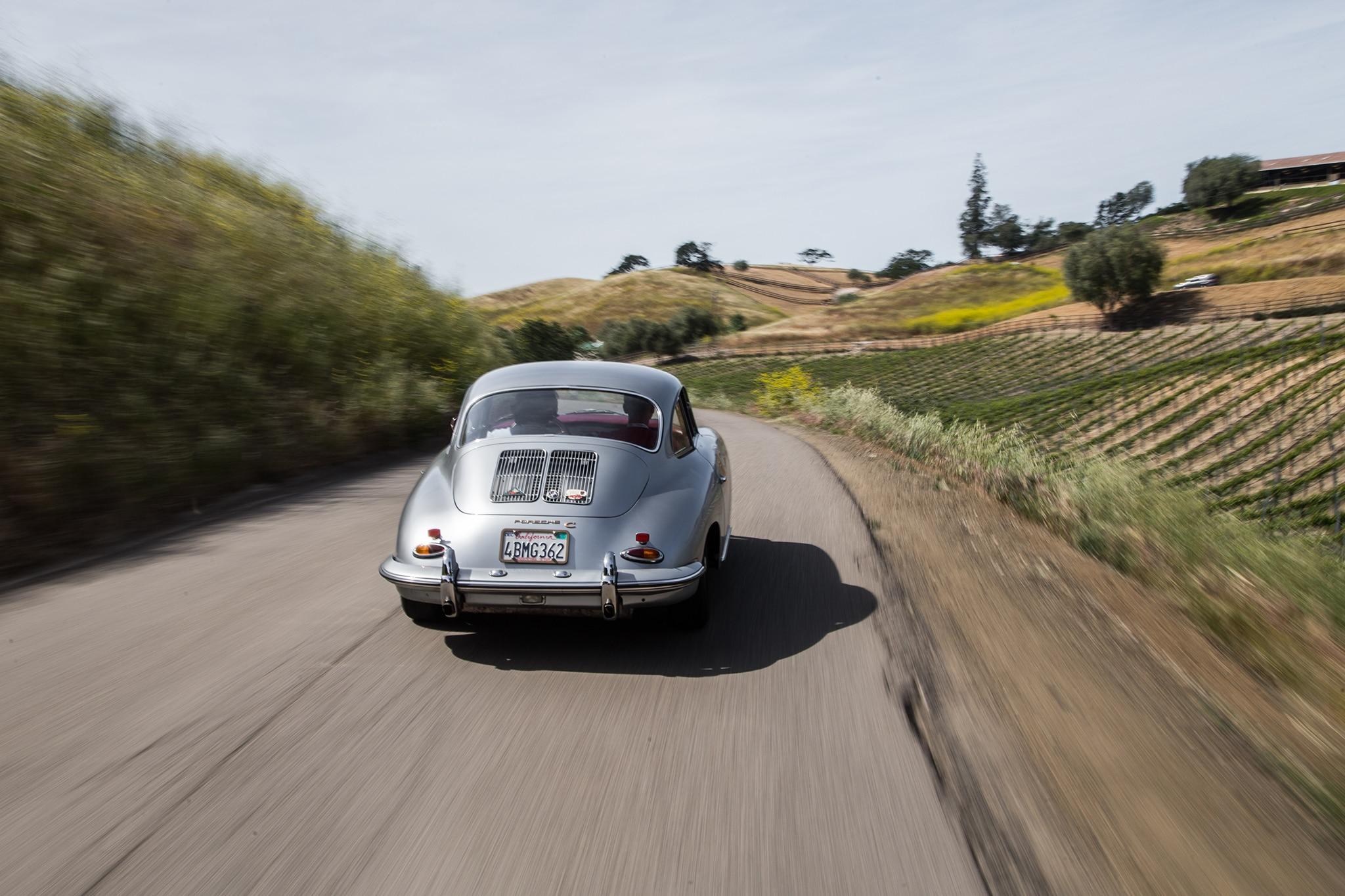 1964 Porsche 356 C Rear View In Motion 01